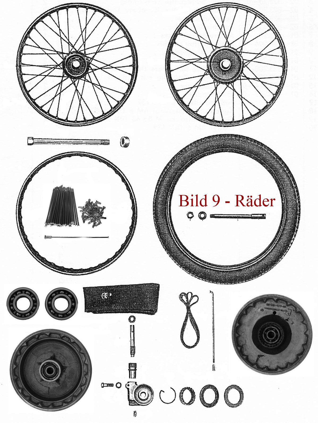 Ersatzteile zu den Rädern IFA MZ RT 125